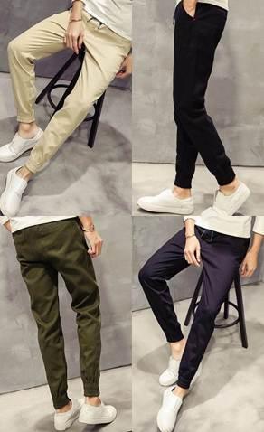 กางเกงขาจั๊ม แนวๆ เอวยืด jogg สีดำ น้ำเงิน เขียว เบจ บุขน size 28-34