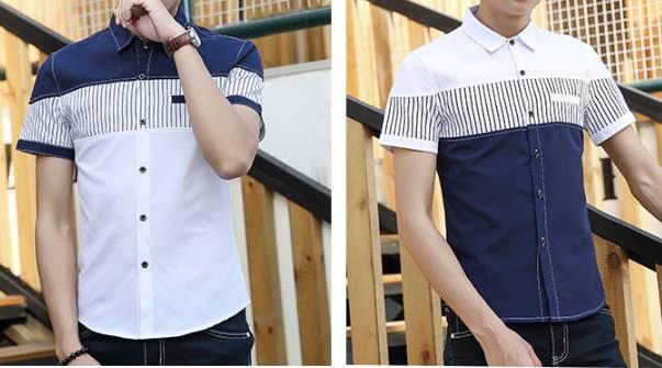 เสื้อเชิ้ตแขนสั้น ปกเล็ก ตัดต่อตัวตรง2สี บ่าน้ำเงิน บ่าขาว No 36 38 40 42