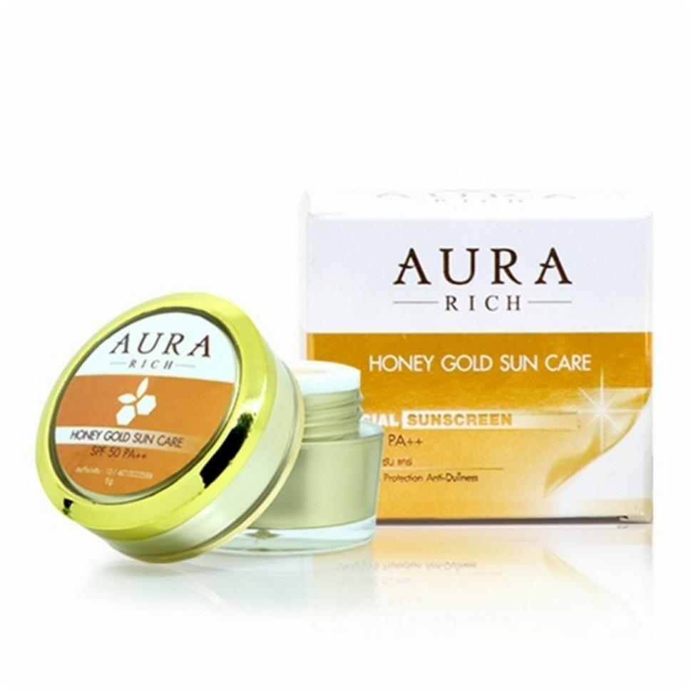 Aura Rich Honey gold Sun Care SPF50PA+++ ครีมกันแดดน้ำผึ้งทองคำ ราคาปลีก 110 บาท / ราคาส่ง 88 บาท