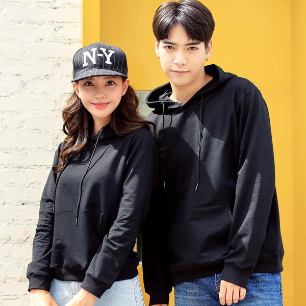 เสื้อกันหนาวคู่รักพร้อมส่ง แฟชั่นคู่รัก ชาย +หญิงเสื้อกันหนาวแบบสวม มีฮูด สีดำ