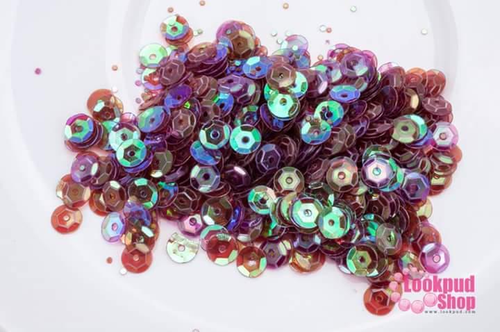 เลื่อมปัก กลม สีม่วงเปลือกมังคุดใสรุ้ง 5มิล(5กรัม)