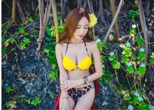 พร้อมส่ง ชุดว่ายน้ำบิกินี่ทูพีซ บราสีเหลืองสวย บิกินี่ลายเสือ sexy