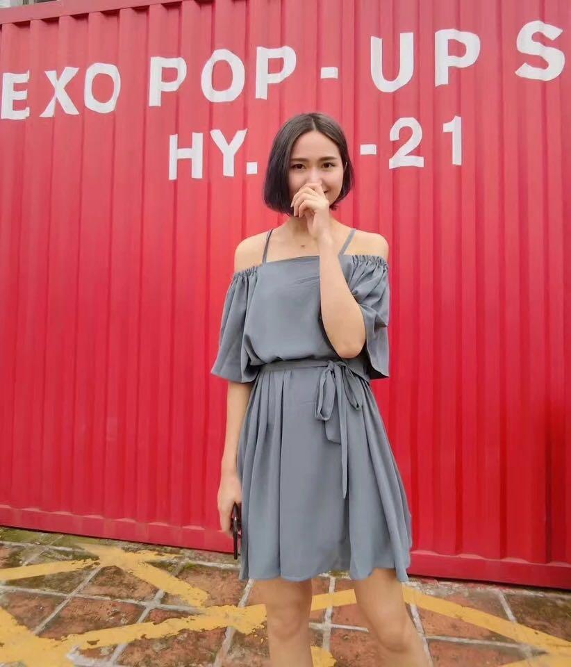 เสื้อผ้าแฟชั่นสไตส์เกาหลี เดรสสายเดี่ยว สีฟ้า แต่งจั้มแขน ผูกเอว +พร้อมส่ง+