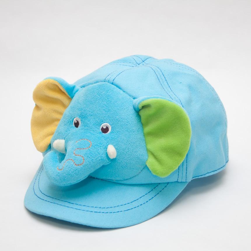 หมวกเด็ก หมวกแก๊ปเด็กเล็ก หมวกหน้าสัตว์ หน้าช้าง สีฟ้า มีสายปรับขนาดหมวกด้านหลัง