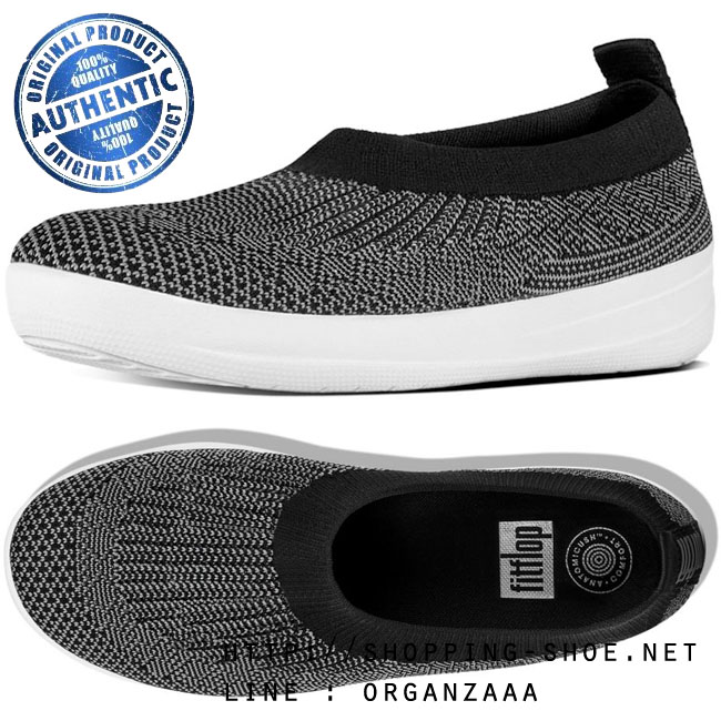 Fitflop Uberknit Slip On Ballet Flat Black / Charcoal ของแท้ นำเข้าจาก USA และ UK