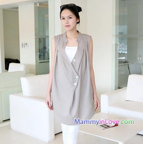 เสื้อคลุมตัวผ้าคอตตอน แขนกุด : สีเทา รหัส JC003