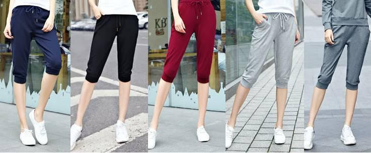หลากสี!!กางเกงsweat pants ผู้หญิงขาสั้น ขาจั๊ม เอวรูด ออกกำลังกาย ฟิตเนส แต่งโลโก้ สี ดำ น้ำเงิน เทาอ่อน แดง เทา No.26-35