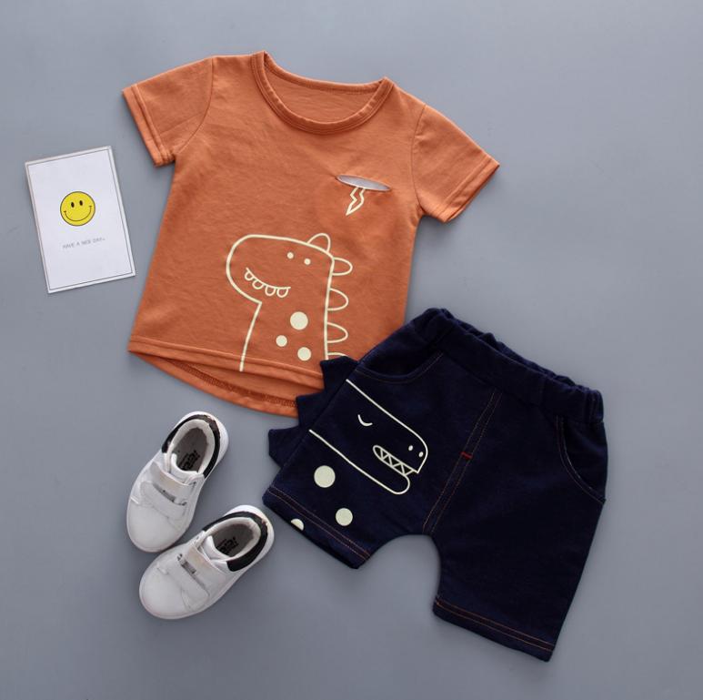 เสื้อ+กางเกง สีน้ำตาล แพ็ค 4 ชุด ไซส์ 80-90-100-110