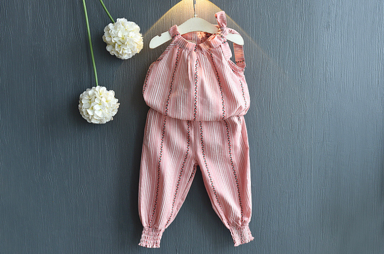 เสื้อ+กางเกง สีชมพู แพ็ค 5ชุด ไซส์ 100-110-120-130-140