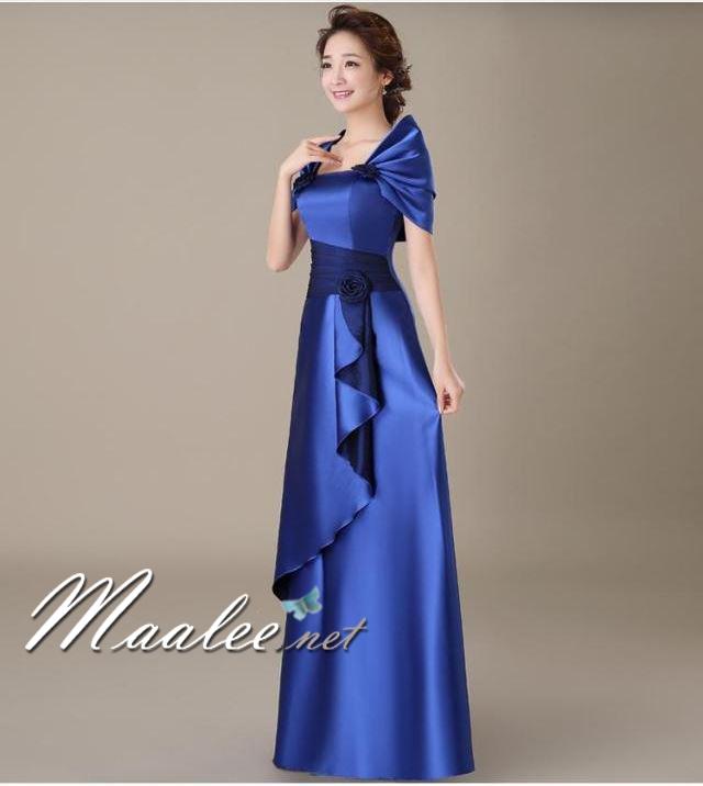 พร้อมส่ง ชุดราตรียาว สีน้ำเงิน ปิดไหล่ แต่งดอกกุหลาบจับจีบสวย ผ้าซาติน (L-5XL)