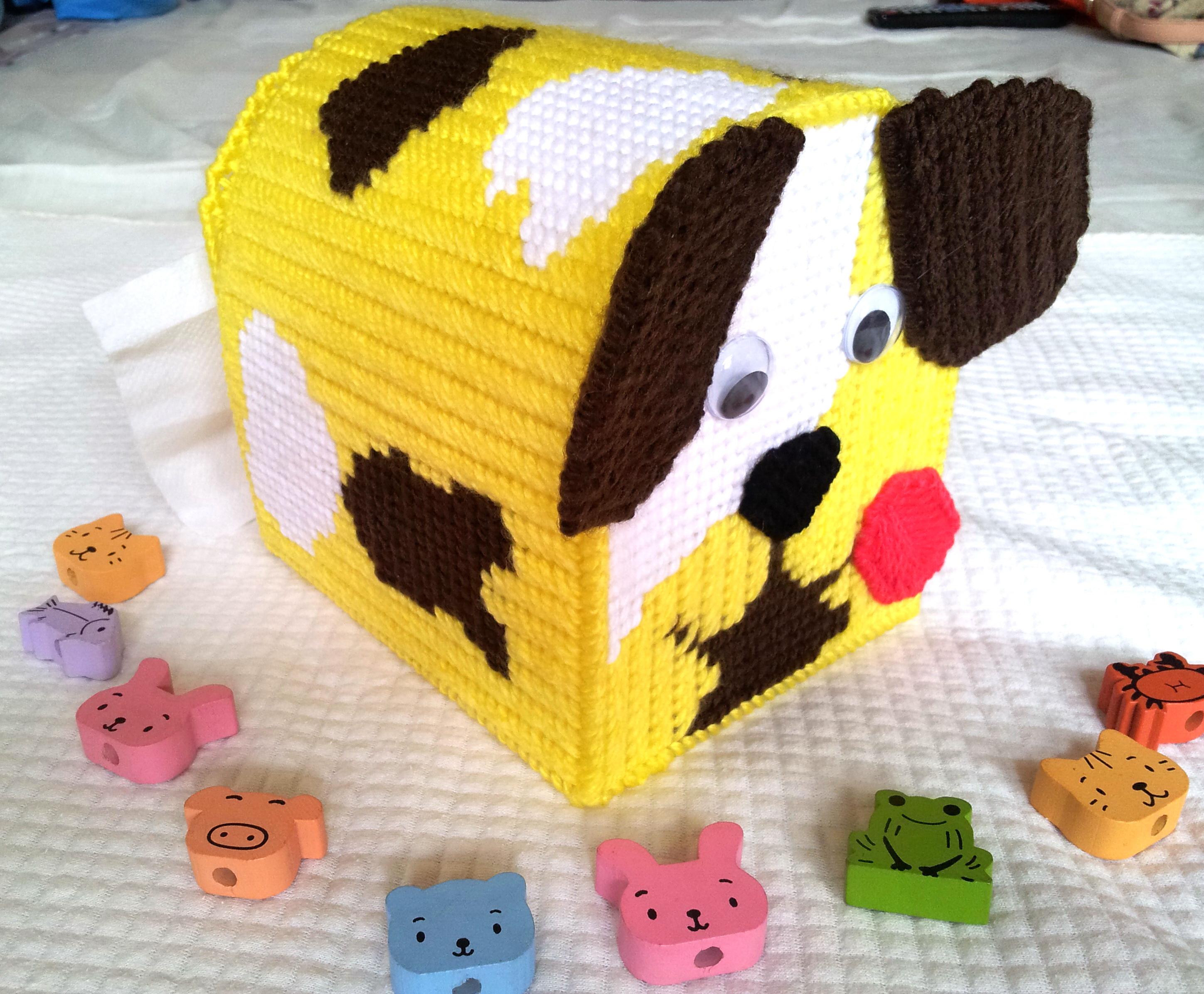 กล่องทิชชูแผ่นเฟรม ลายหมาน้อย สีเหลือง