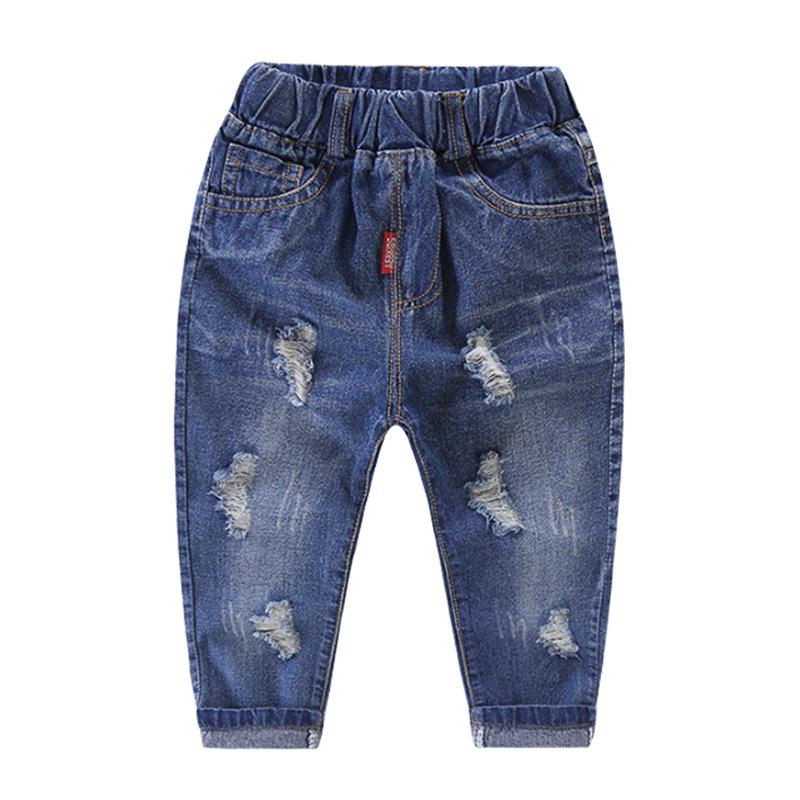 กางเกงยีนส์เด็กสีเข้มแต่งรอยขาด แพ็ค 5 ชิ้น [size 2y-3y-4y-5y-6y]