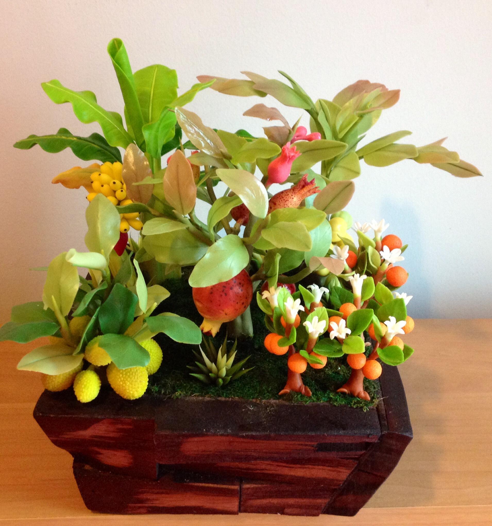 C017-สวนต้นไม้มงคล ทับทิม มะยม ส้ม กล้วย ขนุน_ไซร์ 3-6 นิ้ว