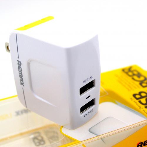 REMAX หัวชาร์จ 3.1A 2 USB 2.1A/1A-สีขาว