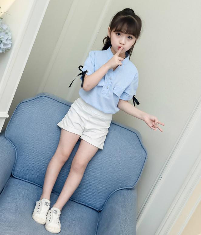 เสื้อ สีฟ้า แพ็ค 5 ชุด ไซส์ 110-120-130-140-150 (เลือกไซส์ได้)