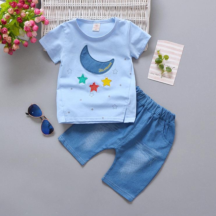 เสื้อ+กางเกง สีฟ้า แพ็ค 4 ชุด ไซส์ 80-90-100-110
