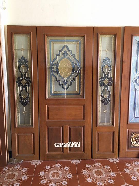 ประตูไม้สักกระจกนิรภัยชุด3ชิ้น รหัสAAA38