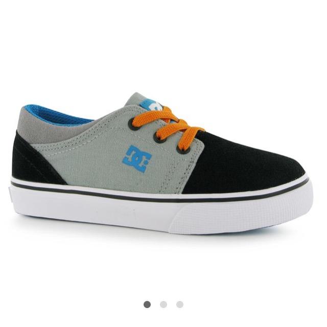 DC Trase Slip Infant Skate Shoes สีเทาส้ม