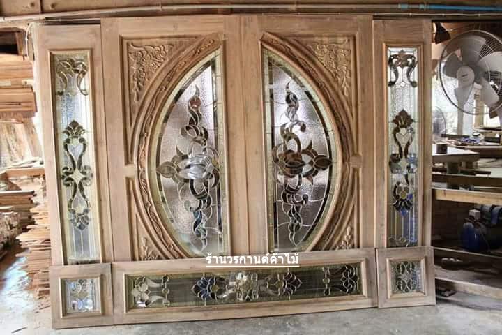 ประตูไม้สักกระจกนิรภัย ชุด7ชิ้น เกรดA รหัส NOT21