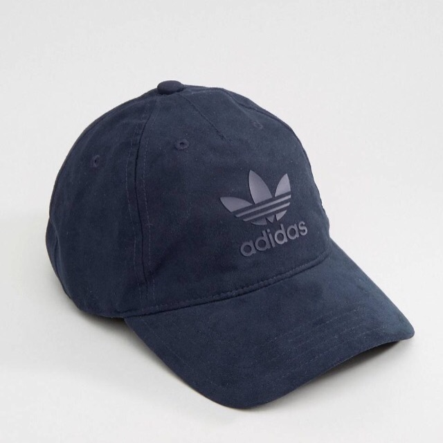 adidas Originals Trefoil Cap In Dark Blue ผ้าหนังกลับ