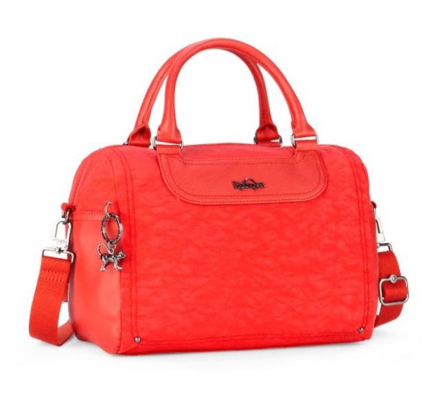 Kipling Almine Cardinal Red รุ่นพิเศษ ผ้าสวย หูกระเป๋าเป็นหนัง ขนาด 13 x 9.5 x 6 นิ้ว