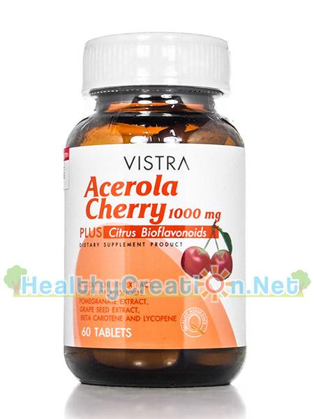 Vistra Acerola Cherry 1,000 mg วิสทร้า อะเซโรลาเชอร์รี่ ป้องกันโรคหวัดและเสริมภูมิต้านทานให้แข็งแรงช่วย เสริมสร้างคอลลาเจน