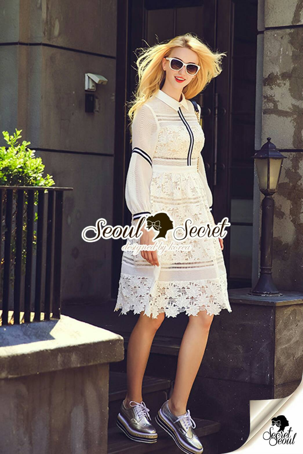 เดรสเชิ้ตสีขาวกระโปรงลูกไม้ดีไซน์สไตล์แบรนด์ by Seoul Secret พร้อมส่งไซส์ M