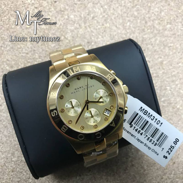 นาฬิกาข้อมือ Marc by Marc Jacobs Blade Chronograph Gold Dial Gold-Tone Stainless Steel Ladies Watch MBM3101