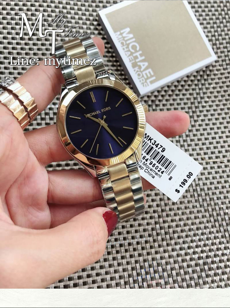 นาฬิกาข้อมือ MICHAEL KORS รุ่น Slim Runway Blue Dial Two-tone Ladies Watch MK3479
