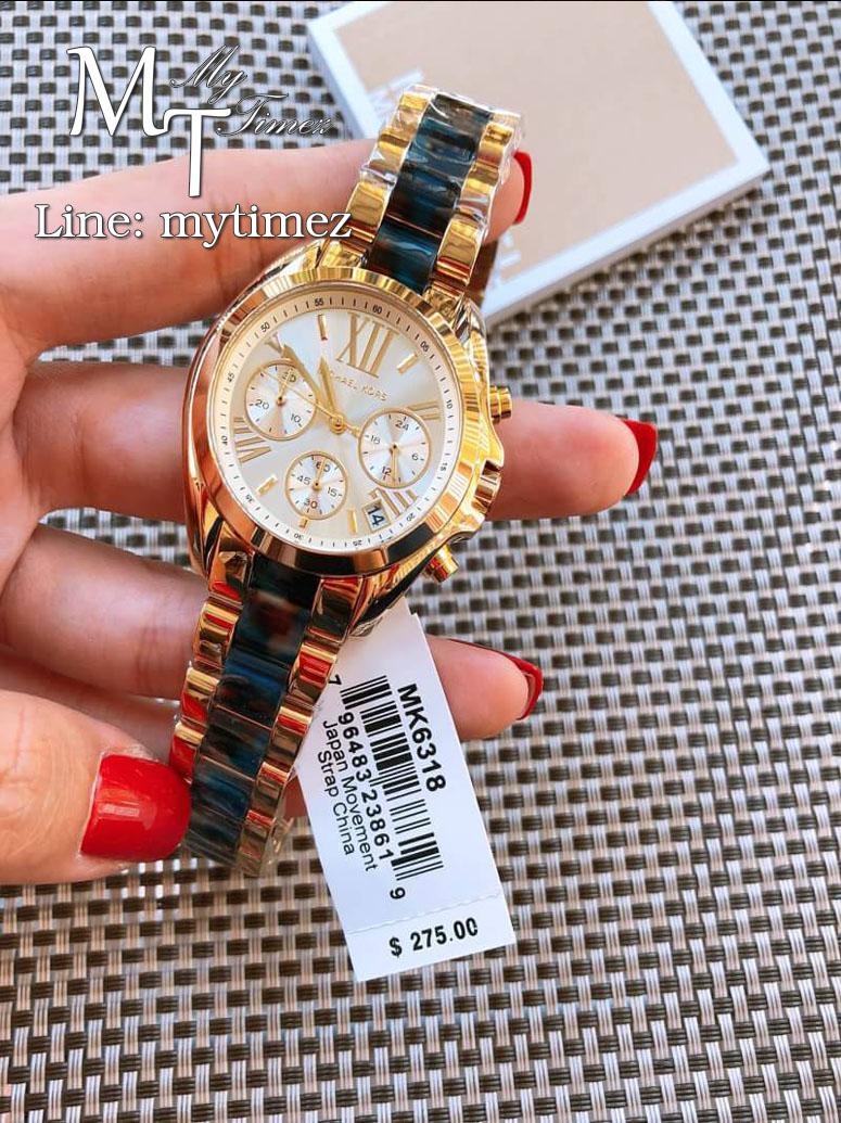 นาฬิกาข้อมือ MICHAEL KORS รุ่น Bradshaw Chronograph Dial Gold-Tone Ladies Watch - MK6318