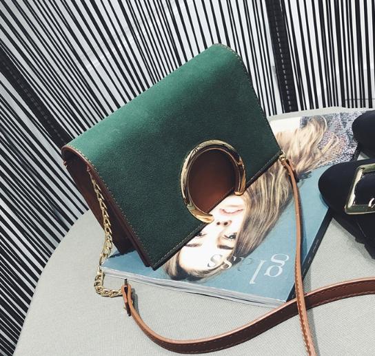 กระเป๋าสะพายข้าง squre curcle สีเขียว