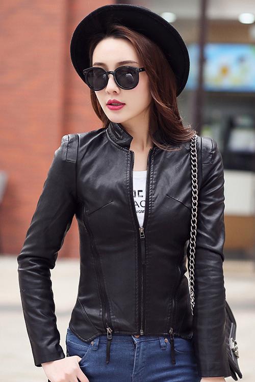 เสื้อแจ็คเก็ต เสื้อหนังแฟชั่น พร้อมส่ง สีดำ คอจีน แต่งซิบรูดช่วงคอเสื้อ ช่วงเอว และปลายแขนสุดเก๋