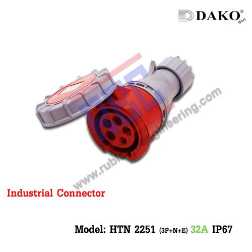 HTN 2251 ปลั๊กตัวเมียกลางทางกันน้ำ (3P+N+E) 32A IP67