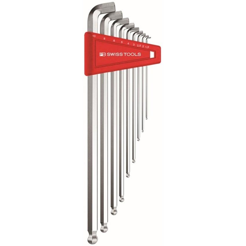 หกเหลี่ยมชุด PB Swiss Tools หัวบอล ยาว คอสั้น 100° รุ่น PB 2212 LH-10 (9 ตัว/ชุด)