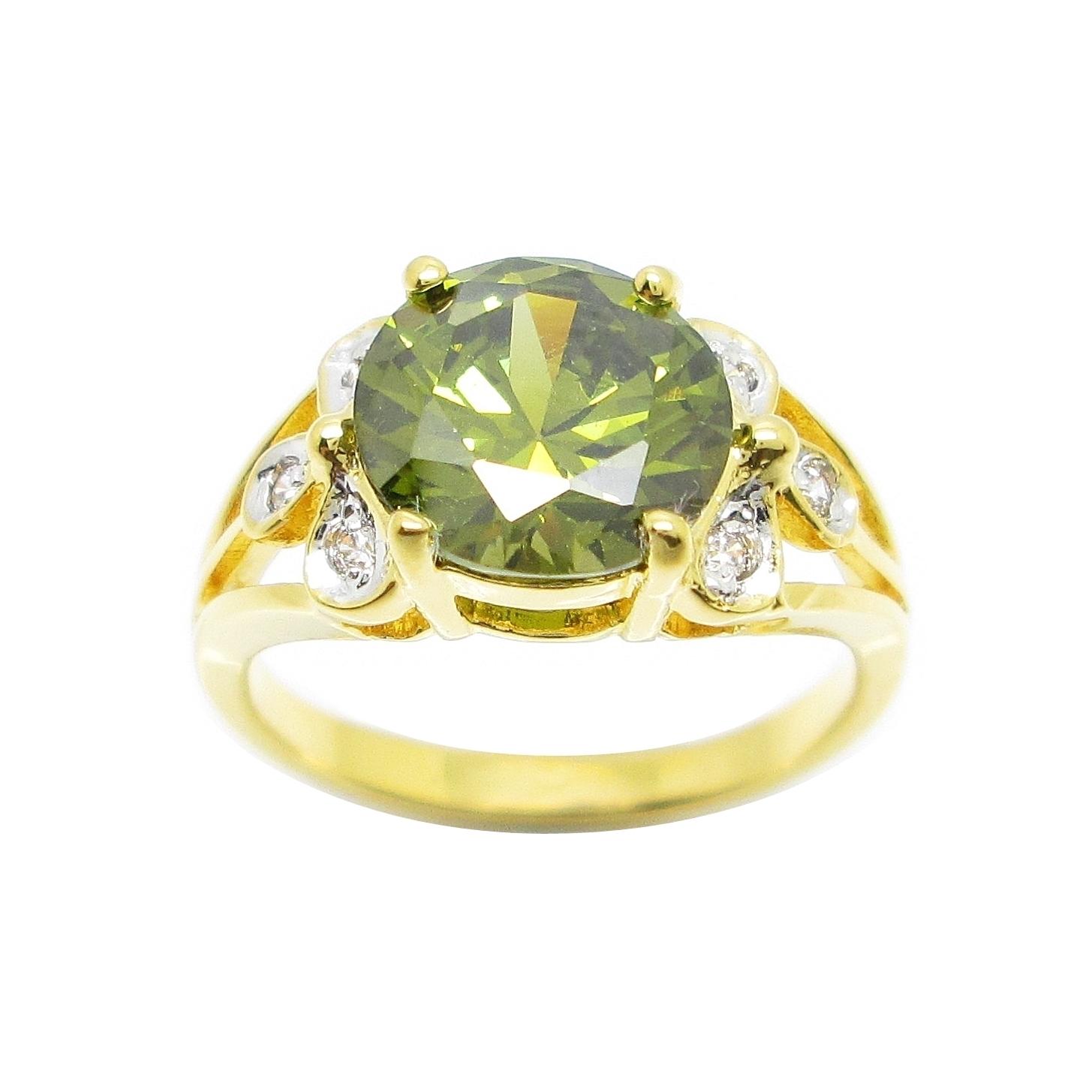แหวนพลอยสีเขียวส่องประดับใบไม้เพชรจิกไข่ปลาชุบทอง