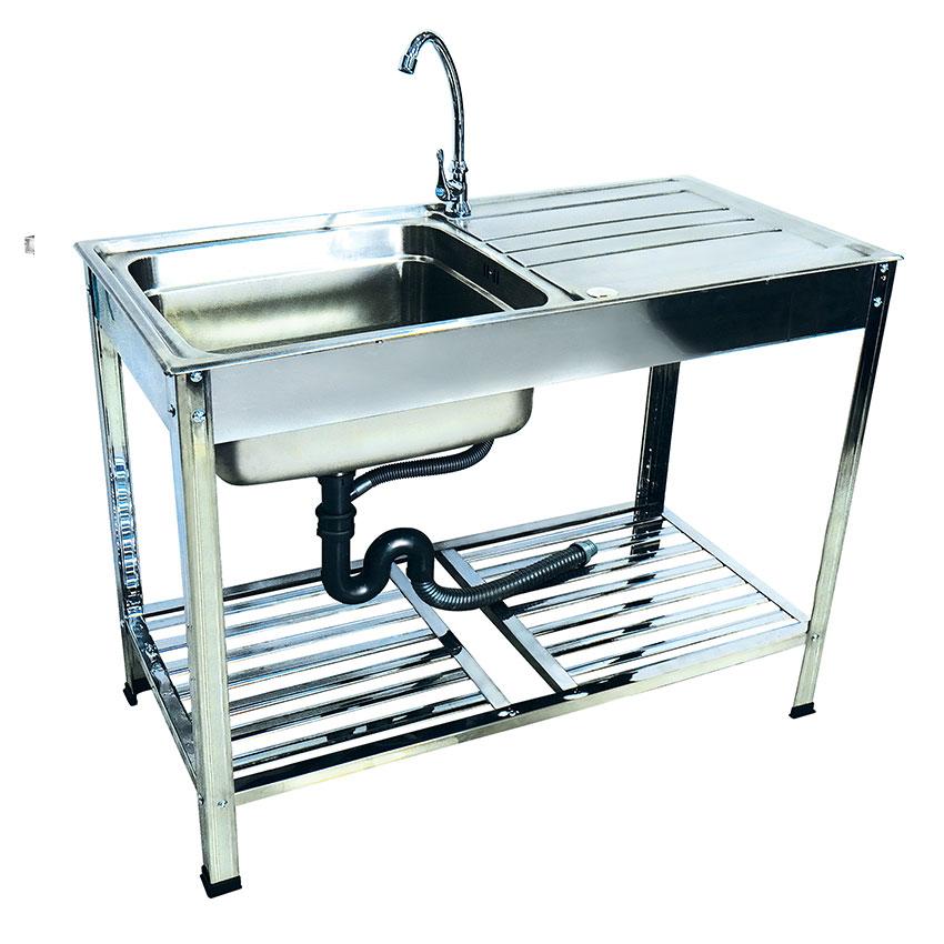 DH-10050-CBT ซิ้งค์ล้างจาน หนึ่งหลุม สแตนเลส อ่างล้างจาน มีที่พักจาน sink หนา0.8mm.พร้อมขาและชั้นวาง