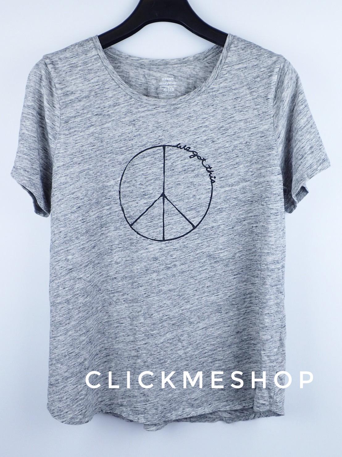 ( ไซส์ XL หน้าอก 44-46 นิ้ว) เสื้อยืด สีเทา ยี่ห้อ Oldnavy สกรีนลาย Peace สำเนา