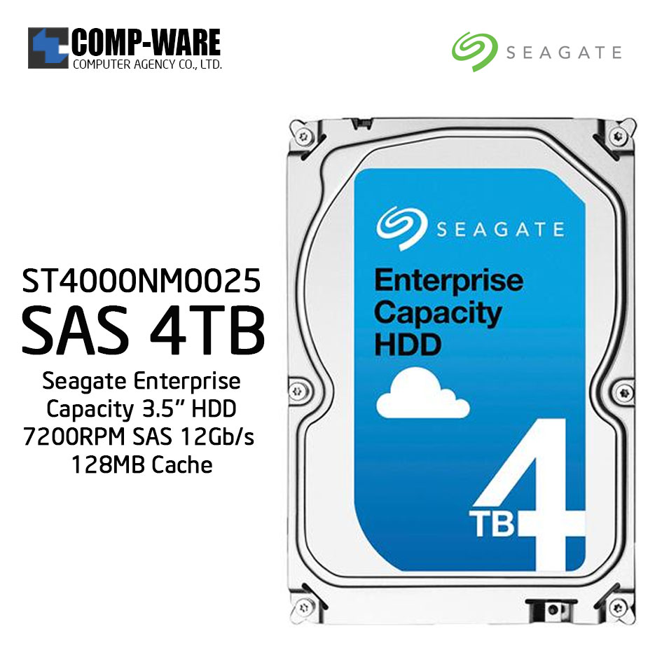 Seagate Enterprise Capacity 3.5'' HDD 4TB 7200RPM SAS 12Gb/s 128MB Cache Internal Hard Drive ST4000NM0025