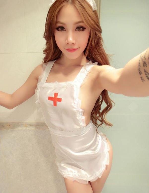 ชุดพยาบาลสีขาว(6373) (ฟรีไซส์)