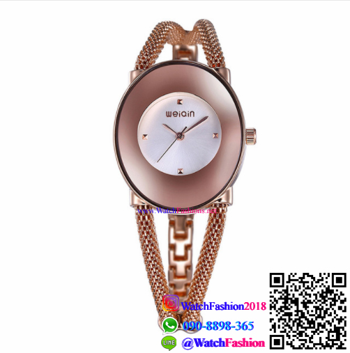 นาฬิกาข้อมือแฟชั่นนำเข้า ผู้หญิง WEIQIN สีโรส หน้าขาว กันน้ำ + ของแท้
