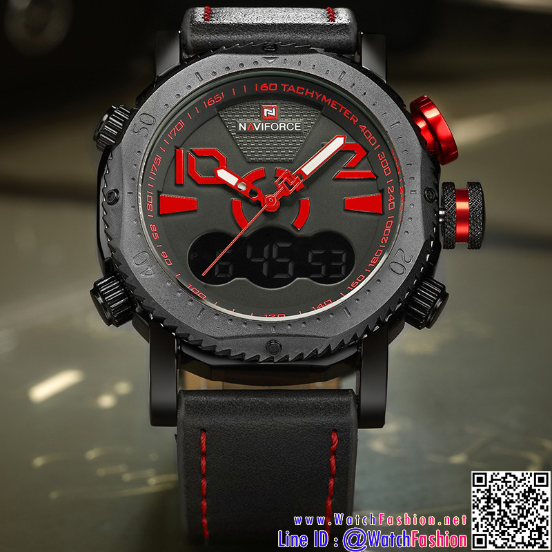 นาฬิกาข้อมือแฟชั่นนำเข้า ผู้ชาย NAVIFORCE NF9091 สองระบบ แบบ BRB