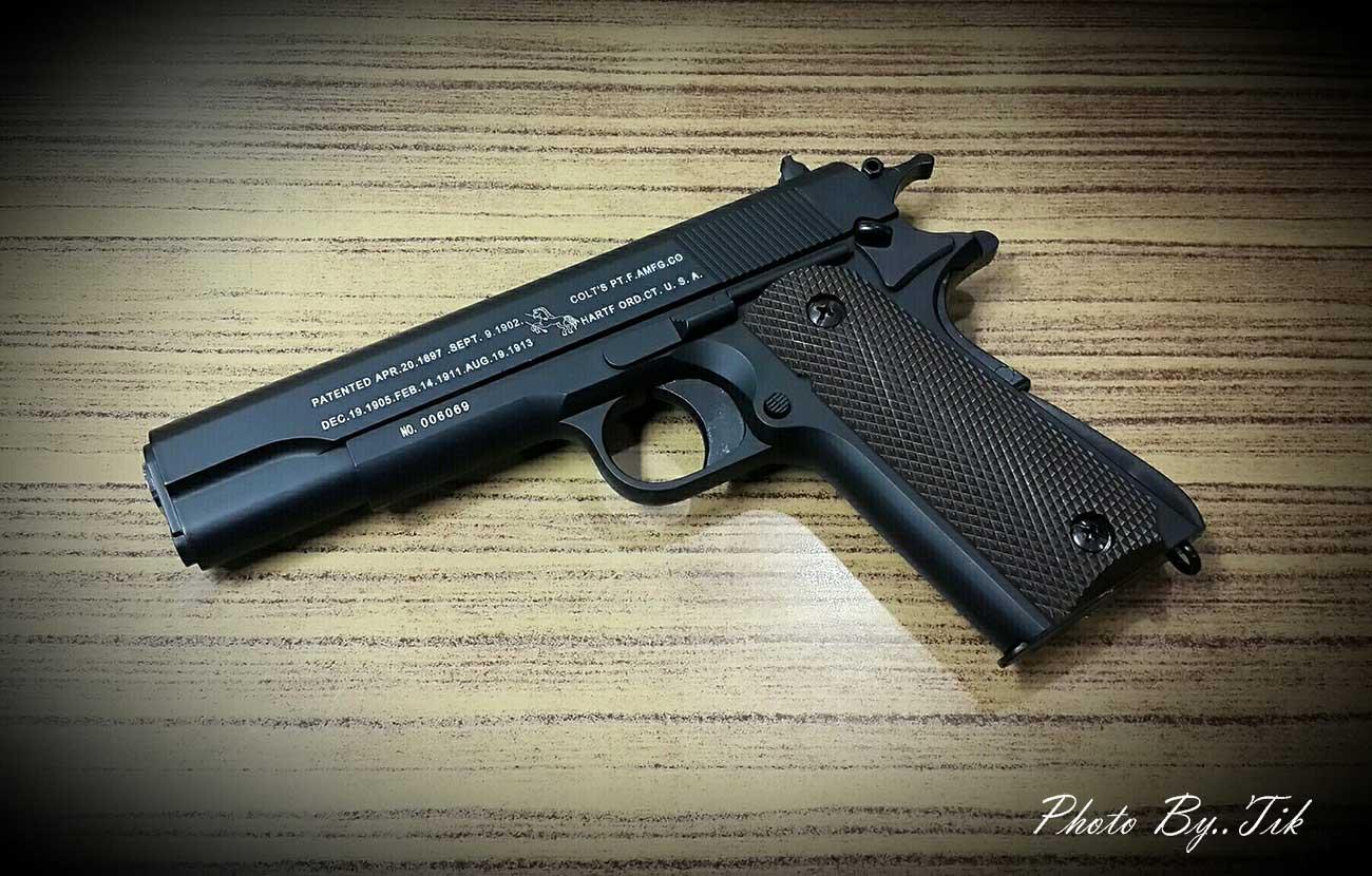 ปืนก็องแก๊ง ชักยิงทีล่ะนัดด้วยสปริง 1911 ดำ (No601)