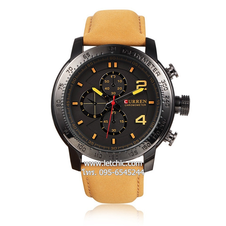 นาฬิกา Curren นาฬิกาข้อมือผู้ชาย สายหนัง รุ่น M8190 BK BN - สีดำน้ำตาล ของแท้ รับประกันศูนย์ 1 ปี ราคาพิเศษ ราคาถูกที่สุด