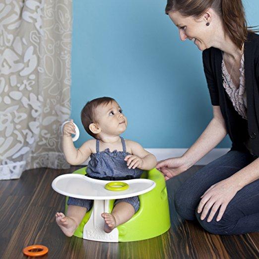 เก้าอี้หัดนั่งสำหรับเด็กเล็ก Bumbo floor seat with tray เก้าอี้หัดนั่งที่ได้รับความนิยมทั่วโลก ของแท้ พร้อมถาด สีเขียวมะนาว (lime)