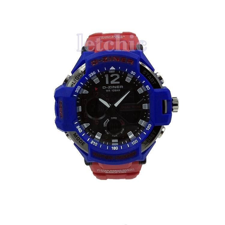 นาฬิกา D-Ziner Sport watch รุ่น DZ-8067B นาฬิกาข้อมือ unisex สีน้ำเงิน สายสีแดง ของแท้ รับประกันศูนย์ 1 ปี ราคาพิเศษ ราคาถูกที่สุด
