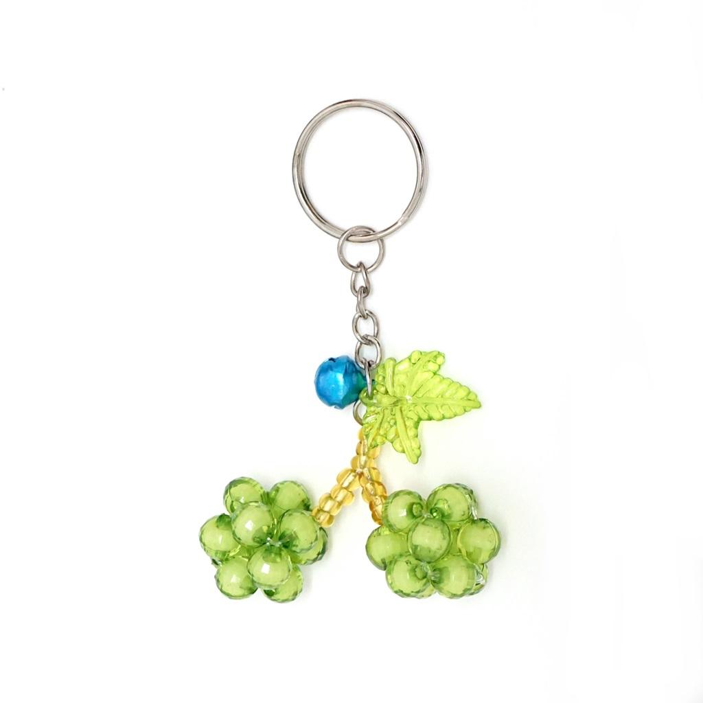 พวงกุญแจลูกปัดคู่ สีเขียวอ่อน 12อัน
