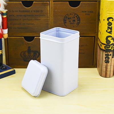 กระป๋องสี่เหลี่ยมสีขาวแบบฝาปิดด้านบน 7.4x7.4x14.4 cm. 10 ชิ้น : 005393