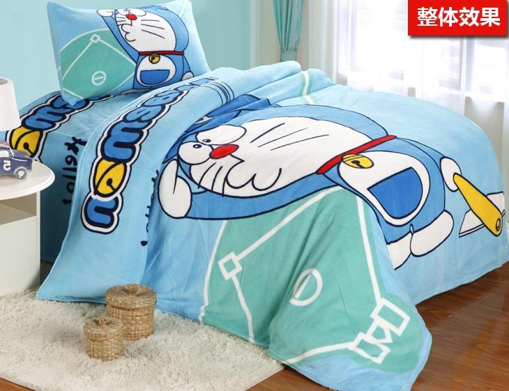 [Preorder] ผ้าปูที่นอนเตียงเดี่ยว (ไซส์ 3.3 ฟุต, 4 ฟุต หรือ 4.5 ฟุต) ลายโดเรมอนเบสบอล สีฟ้าอ่อน Cartoon coral velvet three-piece children's bed dormitory bed linen products