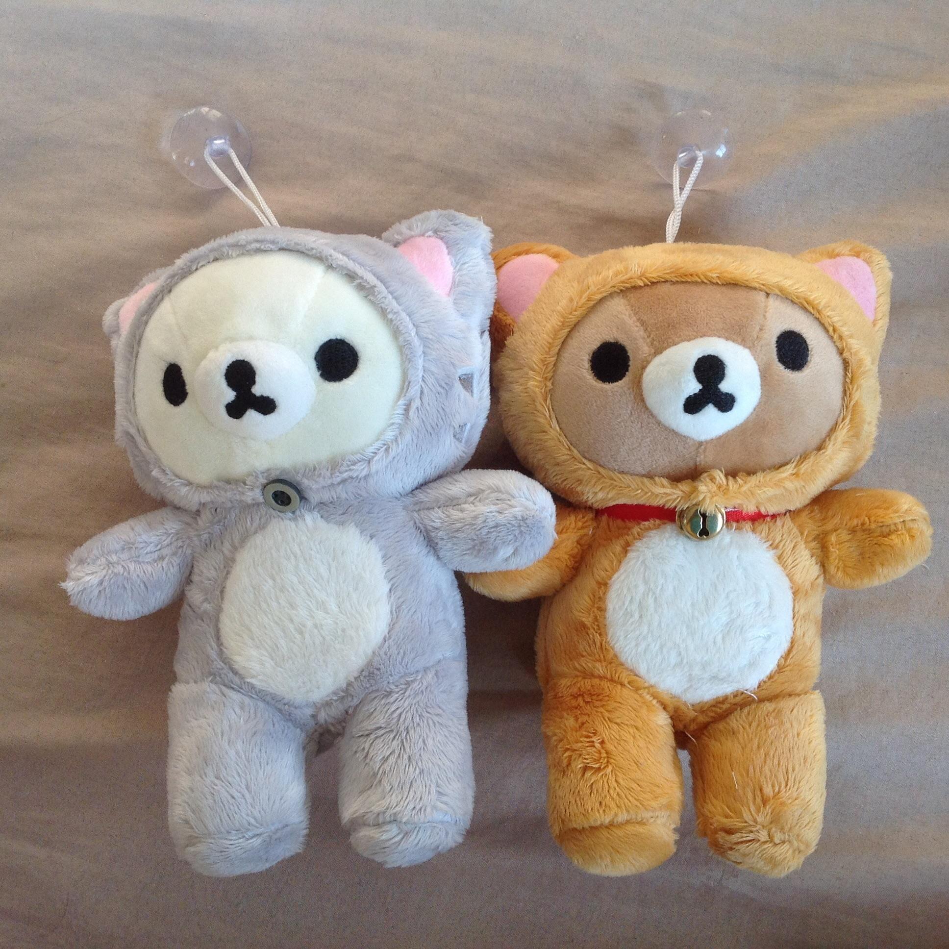 พร้อมส่ง ตุ๊กตาติดกระจกRilakkuma Nonbiri Neko cat Set 2 ตัว