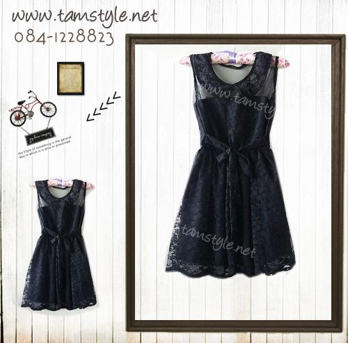 **หมดค่ะ Dress033-เดรสแฟชั่น- เดรสแขนกุดคอบัวผ้าลูกไม้ สีดำ มีซับด้านใน รอบอก 32-35 นิ้ว((เดรสแฟชั่นพร้อมส่ง))